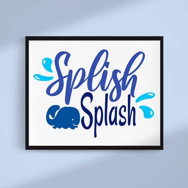 Splish Splash Whale Bathroom Art