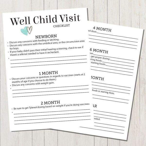 Well Child Visit Checklist