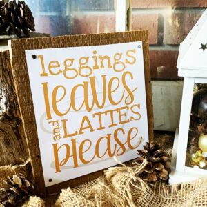 Orange Leggings Leaves and Lattes Fall Wall